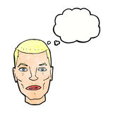 Cartoon serious male face with thought bubble Stock Photo