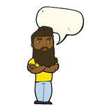 cartoon serious man with beard with speech bubble Stock Images