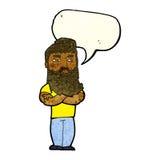 cartoon serious man with beard with speech bubble Stock Image