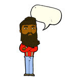 cartoon serious man with beard with speech bubble Stock Photography