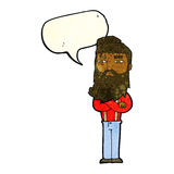cartoon serious man with beard with speech bubble Royalty Free Stock Photos