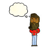 Cartoon serious man with beard with thought bubble Royalty Free Stock Photos