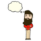 cartoon serious man with beard with thought bubble Stock Images