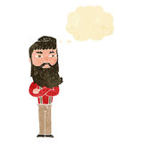 cartoon serious man with beard with thought bubble Stock Photo
