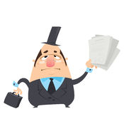 Cartoon serious man in black costume holding papers with signatu. Cartoon serious fat lawyer man in black suit glasses and hat is holding in funny way a Stock Image