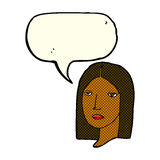Cartoon serious woman with speech bubble Royalty Free Stock Image