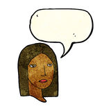Cartoon serious woman with speech bubble Stock Image