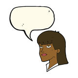 Cartoon serious woman with speech bubble Royalty Free Stock Photography
