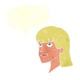 Cartoon serious woman with speech bubble Stock Photo