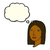 Cartoon serious woman with thought bubble Stock Images