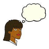 Cartoon serious woman with thought bubble Stock Image