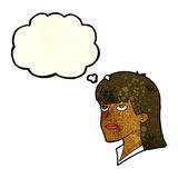 Cartoon serious woman with thought bubble Royalty Free Stock Photography