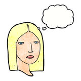 Cartoon serious woman with thought bubble Stock Photo