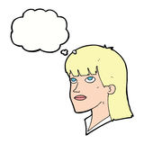Cartoon serious woman with thought bubble Stock Photography