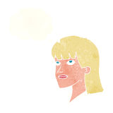 Cartoon serious woman with thought bubble Royalty Free Stock Image
