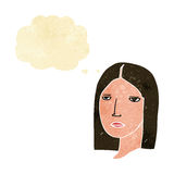 Cartoon serious woman with thought bubble Royalty Free Stock Photo