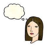 Cartoon serious woman with thought bubble Royalty Free Stock Photos