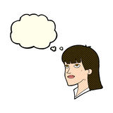 Cartoon serious woman with thought bubble Stock Photos