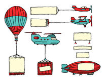 Cartoon set of air vehicles with banners Royalty Free Stock Image