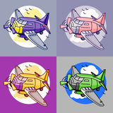 Cartoon set of airliner planes in different colors. Royalty Free Stock Photo