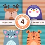 Cartoon set animals - deer, penguin, cat, tiger vector illustration