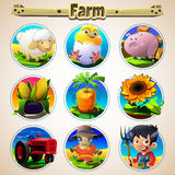 Cartoon set of animals vegetables and men. Vector illustration of farm animals and related items Stock Images