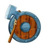 Cartoon set of armor elements shield axe Royalty Free Stock Photos