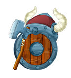 Cartoon set of armor elements shield axe and helmet Royalty Free Stock Images