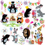 Cartoon set with birthday party Stock Images