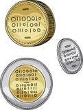 Set of Cartoon Bitcoin Coins Royalty Free Stock Images