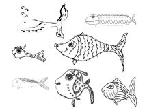 Cartoon set of bright and funny fish swimming. Vector Royalty Free Stock Image