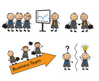 Cartoon set of business situations with people Stock Images