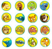 Cartoon set of buttons with dinosaurs Stock Image