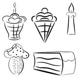 Cartoon set of cakes. eps10 Stock Photo