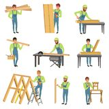 Cartoon set of carpenter characters at work. People with tools for sawing and carpentry. Young men in blue overalls. Working with wood. Colorful flat vector stock illustration