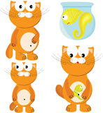 Cartoon set of cat & fish Stock Photos