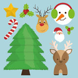 Cartoon set of Chistmas design Royalty Free Stock Photography