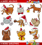 Cartoon Set of Christmas Cats and Dogs Stock Photo