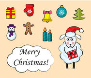 Cartoon set of Christmas icons. Cartoon set of bright christmas icons for 2015 Stock Images