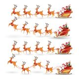 Cartoon set of Christmas Santa Claus rides reindeer sleigh on Christmas with different pose emotion. Vector set illustration isola royalty free illustration