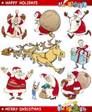 Cartoon Set of Christmas Themes Stock Image