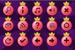 Cartoon set circle Princess girlis style buttons royalty free illustration