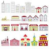 Cartoon  set of city buildings Royalty Free Stock Image