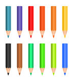 Cartoon set of colored wood pencils Royalty Free Stock Images