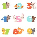 Cartoon set with colorful numbers from 1 to 9 and animals. Calf, fox, cat, dog, rabbit, bear, duckling, squirrel. Cartoon set with colorful numbers from 1 to 9 Royalty Free Stock Photos