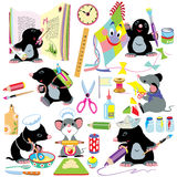Cartoon set with creative activities Royalty Free Stock Image