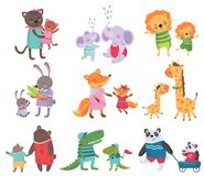 Cartoon set of cute animal family portraits. Cats, elephants, lions, bunnies, foxes, giraffes, bears, crocodiles and. Pandas. Design for children s book or vector illustration