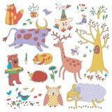 Cartoon Set Of Cute Animals And Plants Stock Image