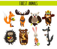 Cartoon Set of Cute Woodland and Forest Animals moose, owl, wolf, Fox, rabbit, beaver, bear, moose isolated on a white background. Stock Photography