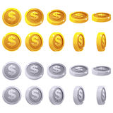 Cartoon set of 3D metallic coins, vector animation game rotation Royalty Free Stock Photo